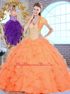 Beautiful Sweetheart Beading and Ruffles Quinceanera Dresses in Orange