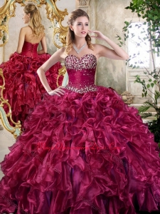 New Style Burgundy Quinceanera Dresses with Beading and Ruffles