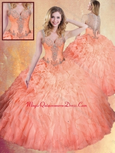 2016 Fashionable Straps Ball Gown Sweet 16 Dresses with Ruffles and Appliques