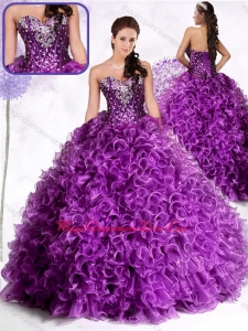2016 Luxurious Ball Gown Sweetheart Ruffles and Sequins Quinceanera Dresses