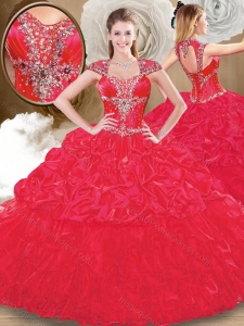 2016 Perfect Sweetheart Red Quinceanera Dresses with Beading and Pick Ups