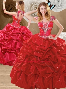 Lovely Beading and Pick Ups Quinceanera Dresses with Brush Train