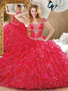Wonderful Red Quinceanera Dresses with Beading and Ruffles