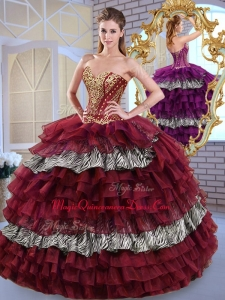 Fashionable Sweetheart Ball Gown Ruffled Layers and Zebra Sweet Couture Quinceanera Dresses