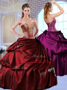 Gorgeous Ball Gown Taffeta Wine Red Couture Quinceanera Dresses with Pick Ups