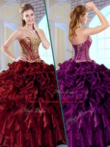 Wonderful Ball Gown Sweetheart Couture Quinceanera Dresses with Ruffles and Appliques