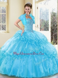 Formal Ball Gown Aqua Blue Quinceanera Dresses with Beading and Ruffled Layers
