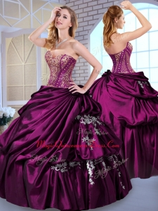 Formal Ball Gown Taffeta Dark Purple Quinceanera Dresses with Pick Ups