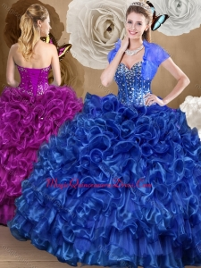 Pretty Royal Blue Couture Quinceanera Dresses with Beading and Ruffles