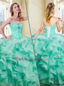 Formal Ball Gown Appliques and Ruffles Turquoise Quinceanera Dresses