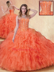 Formal Ball Gown Orange Red Quinceanera Dresses with Ruffles