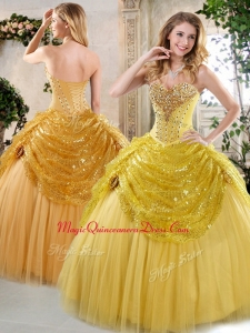 Formal Ball Gown Quinceanera Dresses with Beading and Paillette for Fall