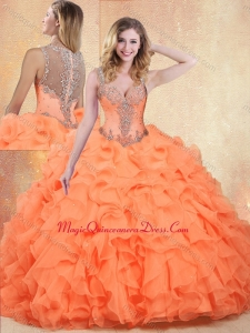 Formal Straps Orange Red Quinceanera Dresses with Ruffles and Appliques