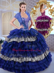 Formal Sweetheart Ball Gown Ruffled Layers and Zebra Quinceanera Dresses