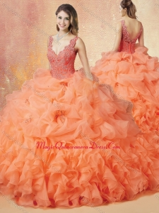 Formal V Neck Beading and Ruffles Quinceanera Dresses with Brush Train