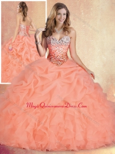 Formal Brush Train Quinceanera Dresses with Ruffles and Bubles