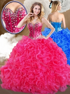 Formal Hot Sweetheart Hot Pink Quinceanera Dresses with Ruffles