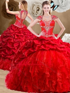 Formal Red Quinceanera Dresses with Beading and Pick Ups