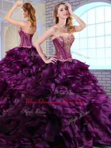 Wonderful Brush Train Dark Purple Sweet 15 Quinceanera Dresses with Ruffles and Appliques