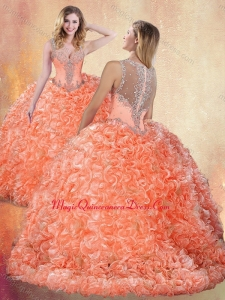 Beautiful Straps Brush Train Sweet 15 Quinceanera Dresses with Ruffles and Appliques