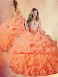 Customized Brush Train Sweet 15 Quinceanera Dresses with Ruffles and Pick Ups