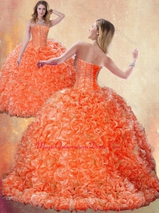 Fashionable Brush Train Orange Sweet 15 Quinceanera Dresses with Beading and Ruffles