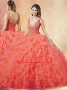 New Arrivals V Neck Sweet 15 Quinceanera Dresses with Ruffles and Appliques