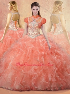 Romantic Straps Open BackSweet 15 Quinceanera Dresses with Beading and Ruffles