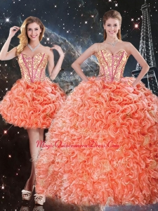 Pretty Detachable Sweetheart Beading and Ruffles Quinceanera Dresses