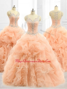Cheap Straps Beading and Ruffles Custom Made Quinceanera Dresses