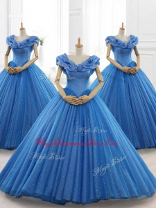 Classical Blue Custom Made Quinceanera Dresses with Appliques