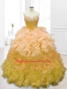 Sweetheart Beading and Ruffles Custom Made Quinceanera Dresses in Gold