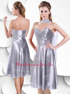2016 Best Empire Elastic Woven Satin Silver Dama Dress with Beading and Ruching