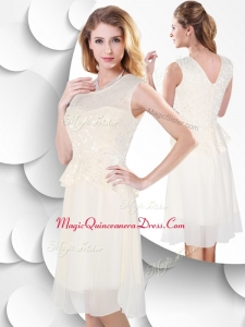 2016 Perfect Scoop Knee Length White Prom Dress with Lace