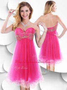2016 Pretty Sweetheart Hot Pink Short Dama Dress with Beading
