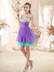Affordable Sweetheart Short Dama Dresses with Sequins and Belt