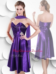 Discount Empire Sweetheart Elastic Woven Satin Dama Dress with Beading and Ruching