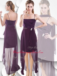 Discount Spaghetti Straps High Low Dama Dress in Burgundy
