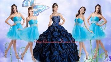 Customized Taffeta Bubles and Beaded Sweet 16 Dress and Short Baby Blue Dama Dresses