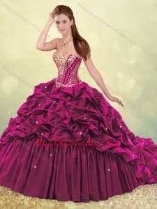 Beautiful Brush Train Quinceanera Dress with Beading and Bubbles