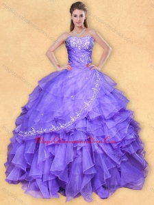 Big Puffy Applique Eggplant Purple Quinceanera Dress in Organza