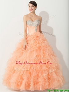 Princess Orange Quinceanera Gown with Beading and Ruffles