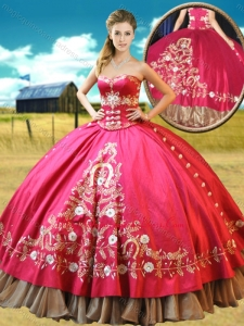Really Puffy Taffetae Red Quinceanera Gown with Appliques and Beading