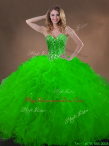 Classical Spring Green Quinceanera Gowns with Beading and Ruffles