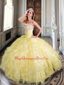 Sweetheart Yellow Sweet 16 Dress with Beading and Ruffles
