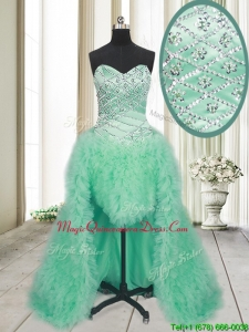 2017 Elegant High Low Brush Train Beaded and Ruffled Dama Dress in Apple Green