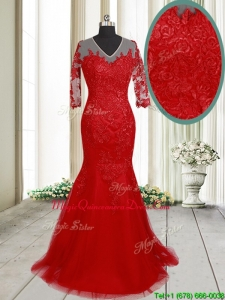 2017 Lovely Mermaid V Neck Brush Train Laced Red Dama Dress with Half Sleeves