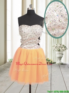 Latest Cut Out Waist Zipper Up Orange Red Dama Dress with Beading and Sequins