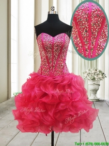 New Arrivals Visible Boning Beaded Bodice and Ruffled Hot Pink Dama Dress