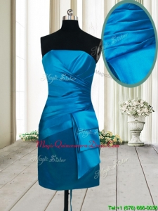 2017 Beautiful Column Satin Strapless Teal Dama Dress in Mini Length